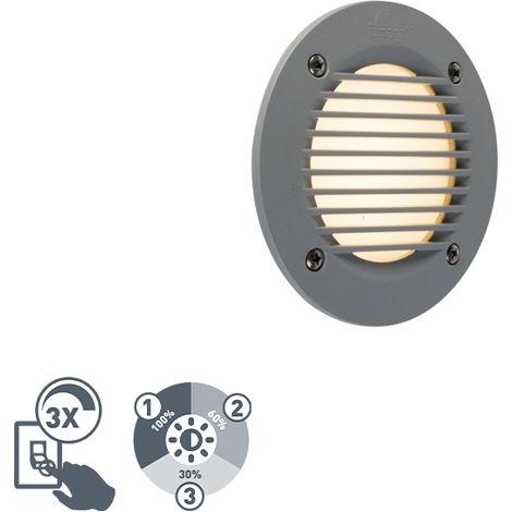QAZQA Moderno Foco empotrado pared moderno redondo gris rejilla LED IP65 - LETI Plástico Redonda Adecuado para LED Max. 1 x 3 Watt