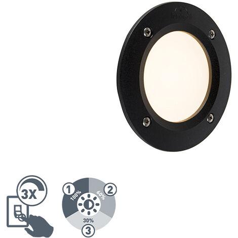 QAZQA Moderno Foco empotrado pared moderno redondo negro LED IP65 - LETI Plástico Redonda Adecuado para LED Max. 1 x 3 Watt