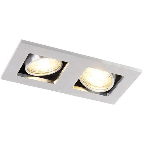 QAZQA Moderno Foco empotrado rectangular aluminio orientable 2-luces - QURE Rectangular Adecuado para LED Max. 2 x 50 Watt