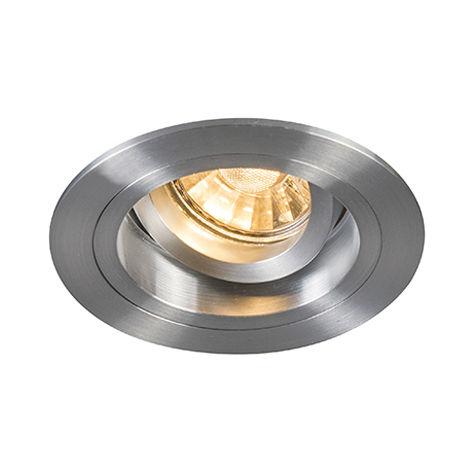 QAZQA Moderno Foco empotrado redondo aluminio orientable - CHUCK Acero Redonda Adecuado para LED Max. 1 x 50 Watt