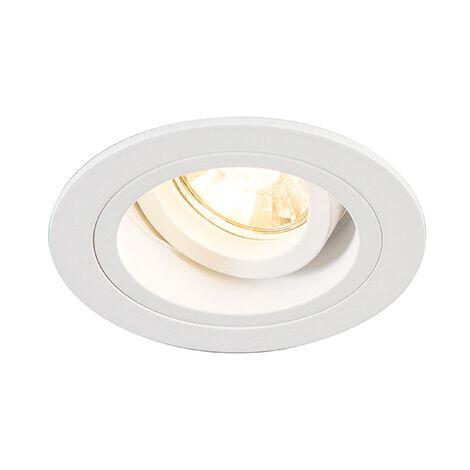 QAZQA Moderno Foco empotrado redondo blanco orientable - CHUCK Acero Redonda Adecuado para LED Max. 1 x 49 Watt