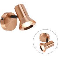 QAZQA Moderno Foco KARIN 1 cobre Metálica Redonda Adecuado para LED Max. 1 x Watt