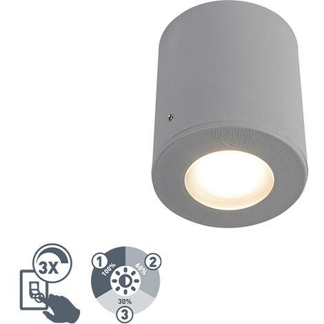 QAZQA Moderno Foco moderno gris IP55 GU10 - FRANCA Plástico Redonda Adecuado para LED Max. 1 x 3.5 Watt