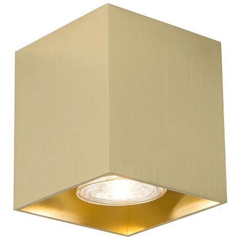 QAZQA Moderno Foco moderno oro - QUBO 1 Aluminio Cuadrada Adecuado para LED Max. 1 x 50 Watt