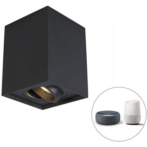 QAZQA + Moderno Foco negro orientable bombilla-WiFi GU10 - QUADRO Up Acero Cuadrada Adecuado para LED Max. 1 x 5 Watt