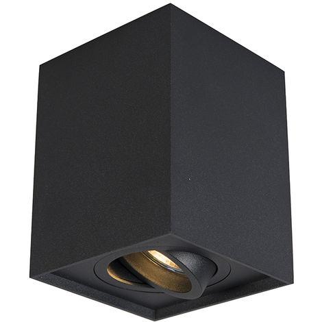 QAZQA + Moderno Foco negro orientable - QUADRO 1 up Acero Cuadrada Adecuado para LED Max. 1 x 50 Watt