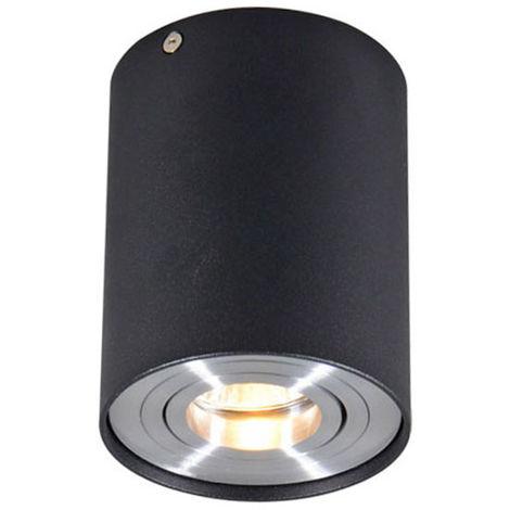 QAZQA + Moderno Foco negro orientable - RONDOO 1 UP Aluminio /Acero Cilíndra Adecuado para LED Max. 1 x 50 Watt