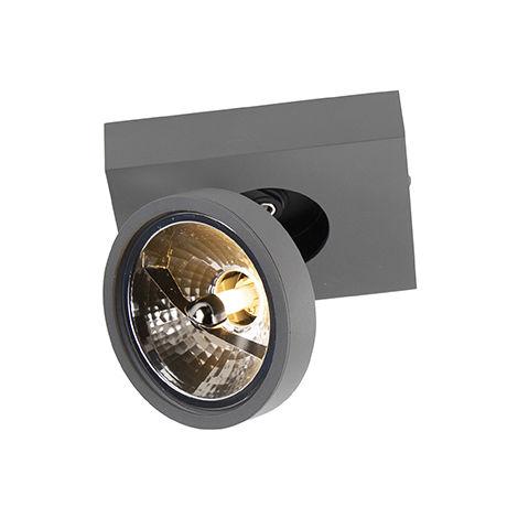 QAZQA Moderno Foco orientable antracita moderno - GA 1 Aluminio Rectangular Adecuado para LED Max. 1 x 40 Watt
