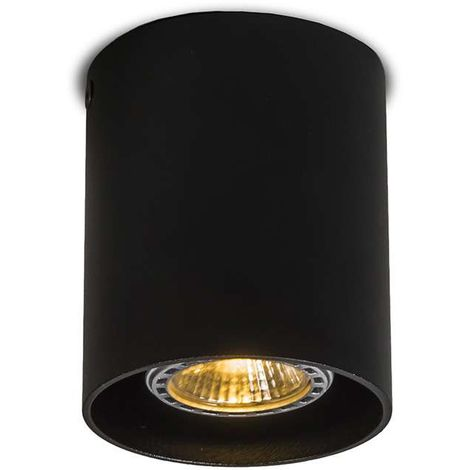 QAZQA Moderno Foco redondo negro- TUBO 1 Aluminio Cilíndra /Redonda Adecuado para LED Max. 1 x 50 Watt