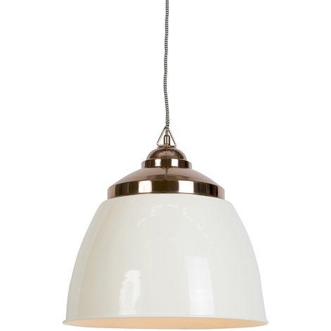 QAZQA Moderno Lámpara colgante art déco beige con cobre - MUMBAI Acero Redonda Adecuado para LED Max. 1 x 40 Watt