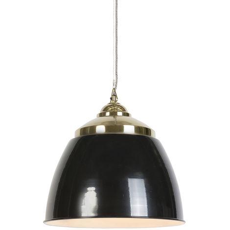QAZQA Moderno Lámpara colgante art déco negra con latón - MUMBAI Acero Redonda Adecuado para LED Max. 1 x 40 Watt