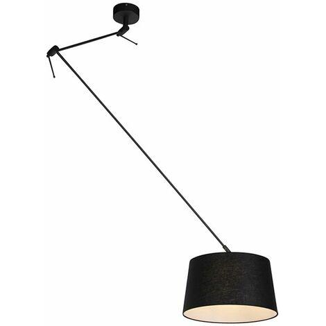 QAZQA Moderno Lámpara colgante con pantalla de lino negro 35 cm - Blitz I negro Lino /Acero Cilíndra /Alargada /Redonda Adecuado para LED Max. 1 x 60 Watt