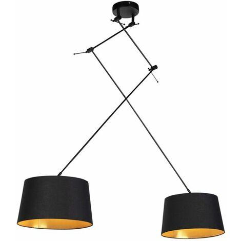 QAZQA Moderno Lámpara colgante con pantallas de algodón negro con oro 35 cm - Blitz II negro Acero /Algodón Cilíndra /Alargada /Redonda Adecuado para LED Max. 2 x 60 Watt