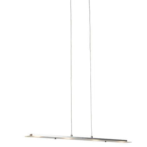 QAZQA Moderno Lámpara colgante de acero con placa de vidrio con LED con regulador de intensidad táctil - Platino /Acero Alargada Incluye LED Max. 4 x 16 Watt