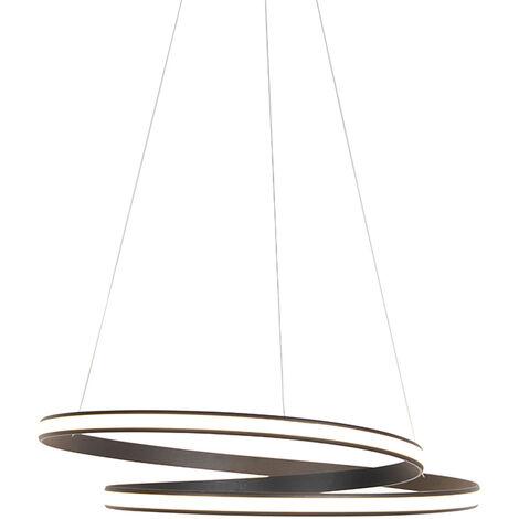 QAZQA Moderno Lámpara colgante de diseño de anillo negro 60cm con LED y dimmer - Anello Aluminio /Acero Redonda Incluye LED Max. 1 x 42 Watt