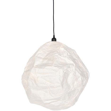 QAZQA Moderno Lámpara colgante escandinava papel blanco - PEPA HIVE /Acero Alargada Adecuado para LED Max. 1 x 11 Watt