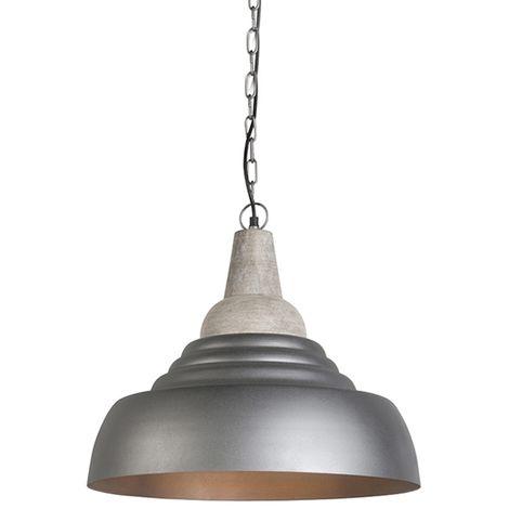 QAZQA Moderno Lámpara colgante HARMAN plateada Madera /Metálica Redonda Adecuado para LED Max. 1 x 60 Watt