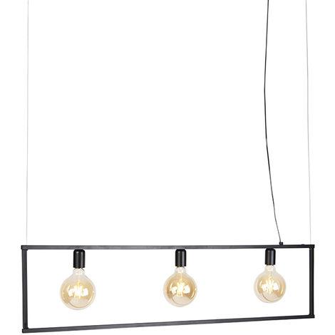 QAZQA Moderno Lámpara colgante industrial 4 luces negro - Big Cage Acero Alargada Adecuado para LED Max. 4 x 60 Watt