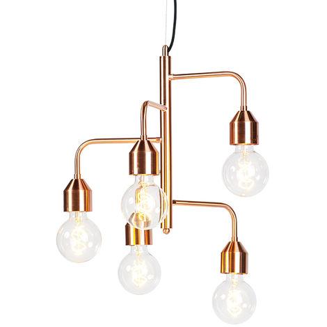QAZQA Moderno Lámpara colgante industrial cobre 5-luces - DARREN Metálica Otros Adecuado para LED Max. 5 x 60 Watt