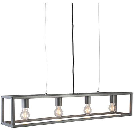QAZQA Moderno Lámpara colgante industrial gris 5 luces - Jaula Acero Rectangular Adecuado para LED Max. 5 x 60 Watt