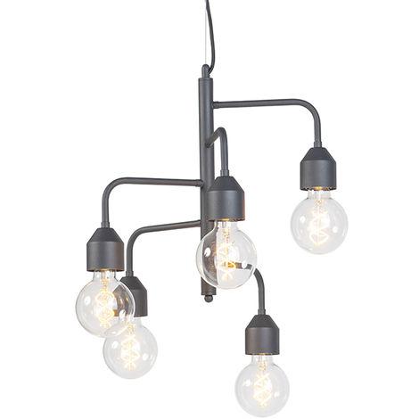 QAZQA Moderno Lámpara colgante industrial negra 5-luces - DARREN Metálica Otros Adecuado para LED Max. 5 x 60 Watt