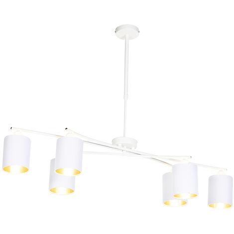 QAZQA Moderno Lámpara colgante moderna blanca ajustable 6-luces - LOFTY Acero /Textil Cilíndra /Alargada /Redonda Adecuado para LED Max. 6 x 40 Watt