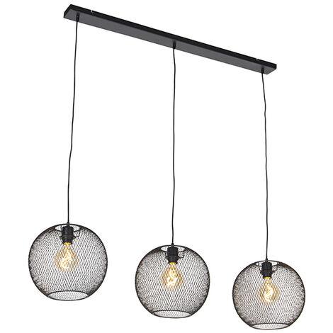 """main image of """"QAZQA Moderno Lámpara colgante moderna negra 3-luces - MESH Ball Acero Alargada Adecuado para LED Max. 3 x 60 Watt"""""""