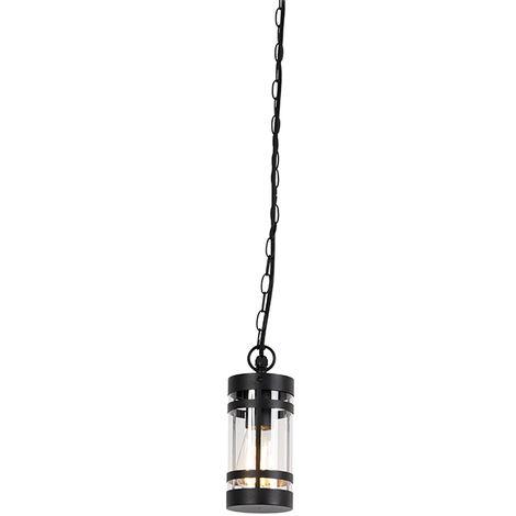 QAZQA Moderno Lámpara colgante moderna negra IP44 - GLEAM Acero /Plástico Alargada /Cilíndra Adecuado para LED Max. 1 x 60 Watt