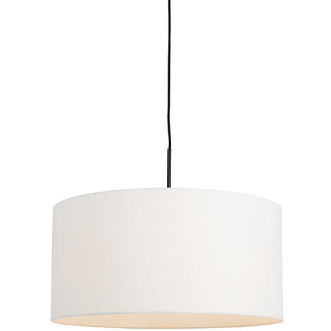 QAZQA Moderno Lámpara colgante moderna negra pantalla blanca 50cm - COMBI 1 Metálica /Textil Redonda Adecuado para LED Max. 1 x 60 Watt