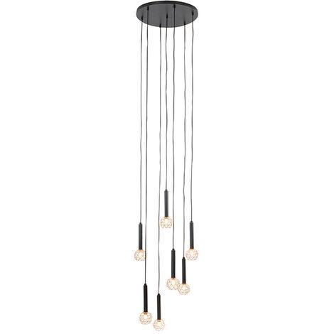 QAZQA Moderno Lámpara colgante negra con cobre 7 luces - Malla Acero Alargada Adecuado para LED Max. 7 x 40 Watt