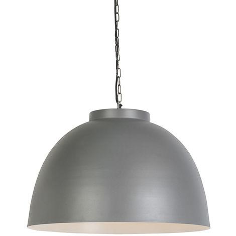 QAZQA Moderno Lámpara colgante nórdica gris 40cm - HOODI Acero Redonda Adecuado para LED Max. 1 x 40 Watt