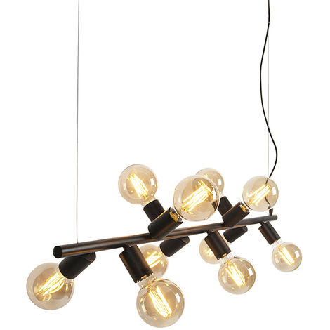 QAZQA Moderno Lámpara colgante nórdica negra 10-luces - FACIL Tube Acero Alargada Adecuado para LED Max. 10 x 40 Watt