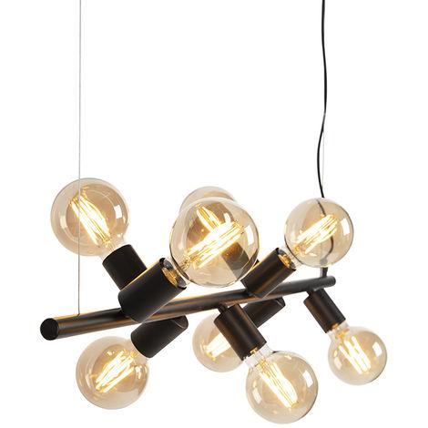 QAZQA Moderno Lámpara colgante nórdica negra 8-luces - FACIL Tube Acero Alargada Adecuado para LED Max. 8 x 40 Watt