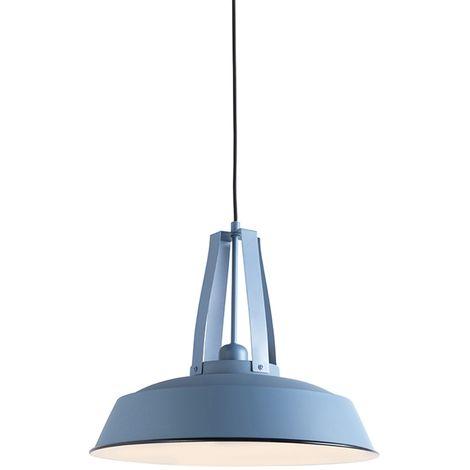 QAZQA Moderno Lámpara colgante vintage azul 43cm - LIVING Metálica Redonda Adecuado para LED Max. 1 x 60 Watt