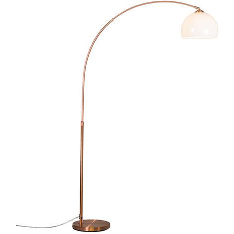 QAZQA Moderno Lámpara de arco moderna cobre pantalla blanca - ARC Basic Plástico /Acero Redonda Adecuado para LED Max. 1 x 20 Watt