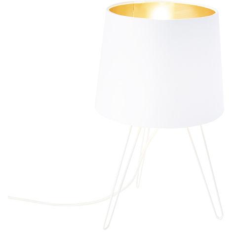 QAZQA Moderno Lámpara de mesa moderna blanca - LOFTY Textil /Acero Cilíndra Adecuado para LED Max. 1 x 40 Watt