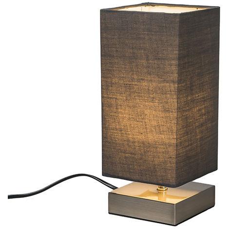 QAZQA Moderno Lámpara de mesa moderna gris acero - MILO Metálica /Textil Cuadrada /Rectangular Adecuado para LED Max. 1 x 25 Watt