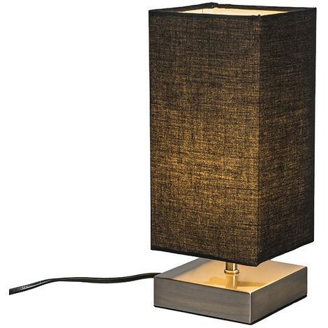 QAZQA Moderno Lámpara de mesa moderna negra acero - MILO Textil /Acero Cuadrada /Rectangular Adecuado para LED Max. 1 x 25 Watt