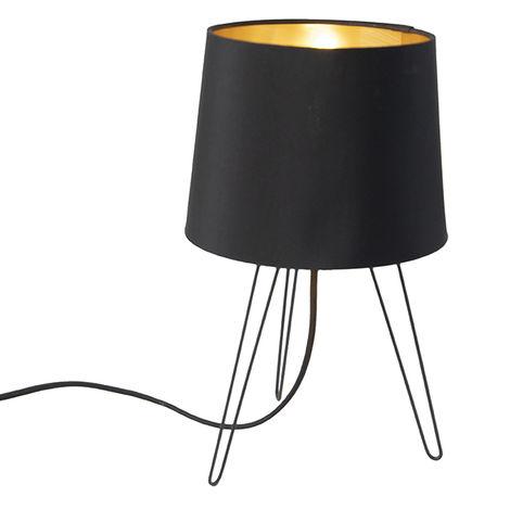 QAZQA Moderno Lámpara de mesa moderna negro - LOFTY Textil /Acero Cilíndra Adecuado para LED Max. 1 x 40 Watt