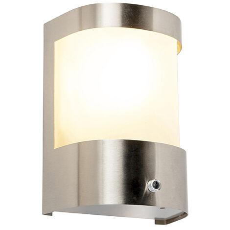QAZQA Moderno Lámpara de pared moderna para exterior sensor de movimiento de acero inoxidable IP44 - Mira Vidrio / Esfera Adecuado para LED Max. 1 x 60 Watt