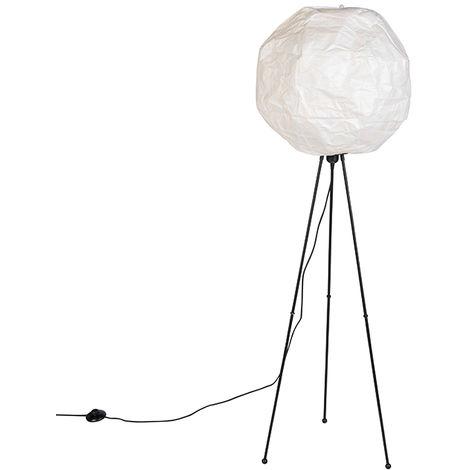 "main image of ""QAZQA Moderno Lámpara de pie papel escandinavo blanco - PEPA BALL /Acero Alargada Adecuado para LED Max. 1 x 11 Watt"""