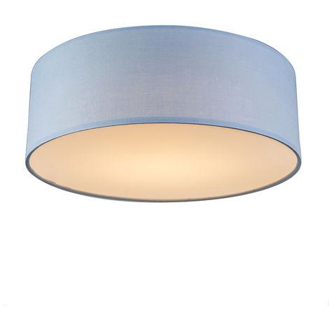 QAZQA Moderno Lámpara de techo azul 30 cm con LED - Drum LED Metálica /Textil Redonda Incluye LED Max. 1 x 10 Watt
