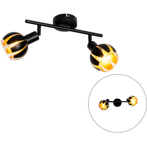 QAZQA Moderno Lámpara de techo diseño negro/oro 2-luces - MELONE Vidrio /Acero Alargada Adecuado para LED Max. 2 x 4 Watt