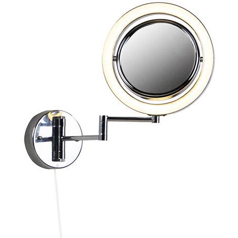 QAZQA Moderno Maquillaje redondo espejo de pared con interruptor de cable cromado x3 - Vicino Acero /Aluminio /Vidrio Redonda Incluye LED Max. 2 x 8 Watt