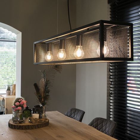 QAZQA Moderno Moderna lámpara colgante rectangular negra 5 luces - Jaula Acero Rectangular Adecuado para LED Max. 5 x 60 Watt