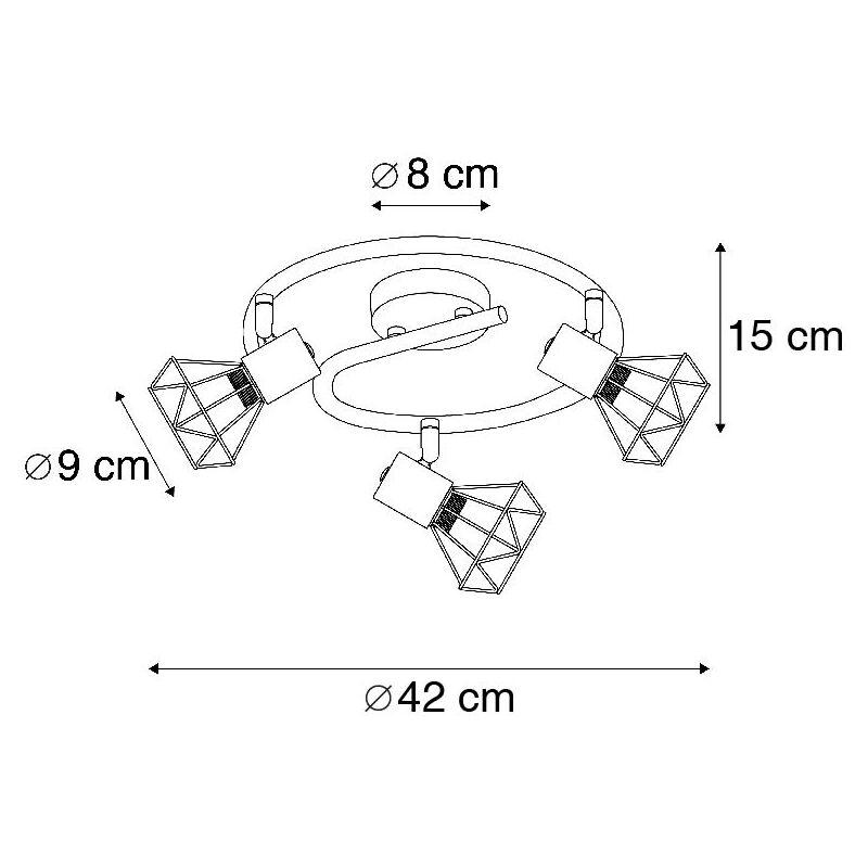 MOSH 1 Acero Redonda Adecuado para LED Max 1 x 40 Watt QAZQA Moderno Foco art deco giratorio negro