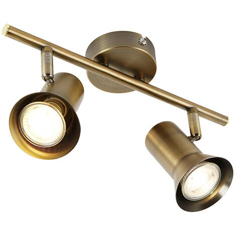 QAZQA Moderno Plafón bronce orientable - KARIN 2 Metálica Alargada Adecuado para LED Max. 2 x 35 Watt