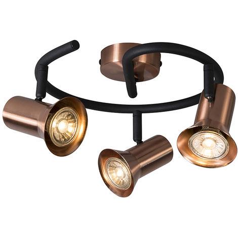 QAZQA Moderno Plafón cobre orientable espiral - KARIN 3 Metálica Redonda Adecuado para LED Max. 3 x 35 Watt