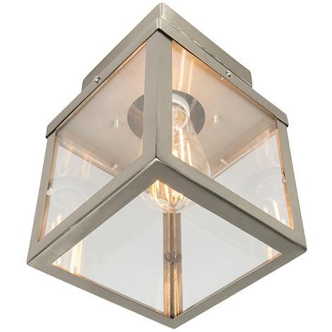 "main image of ""QAZQA + Moderno Plafón exterior moderno acero 1-luz - ROTTERDAM Vidrio /Acero inoxidable Rectangular Adecuado para LED Max. 1 x 60 Watt"""