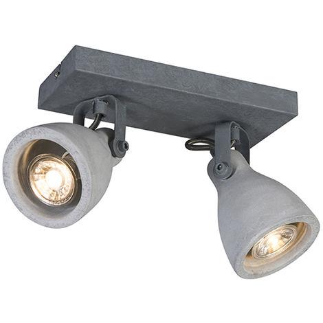 QAZQA Moderno Plafón industrial gris hormigón 2 luces - CRETO Piedra/cemento Rectangular Adecuado para LED Max. 2 x 35 Watt